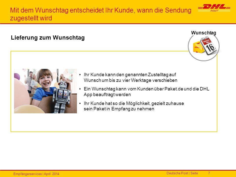 Empfängerservices | April 2014 Deutsche Post | Seite7 Ihr Kunde kann den genannten Zustelltag auf Wunsch um bis zu vier Werktage verschieben Ein Wunsc