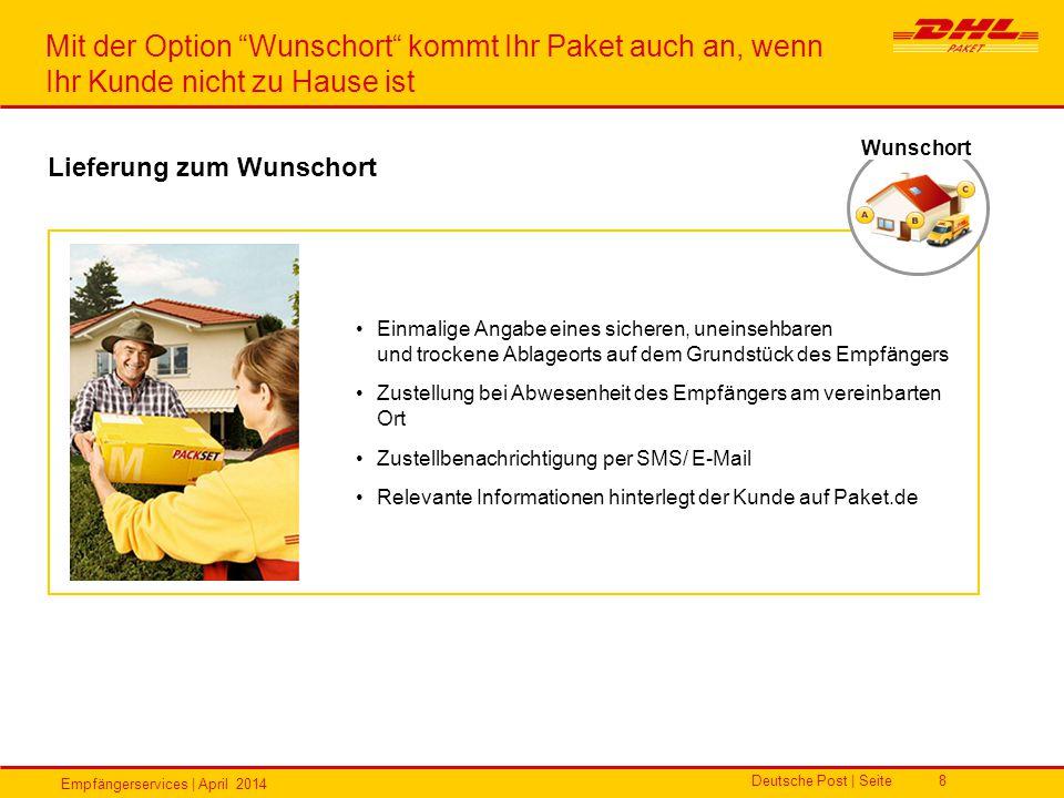Empfängerservices | April 2014 Deutsche Post | Seite8 Einmalige Angabe eines sicheren, uneinsehbaren und trockene Ablageorts auf dem Grundstück des Em