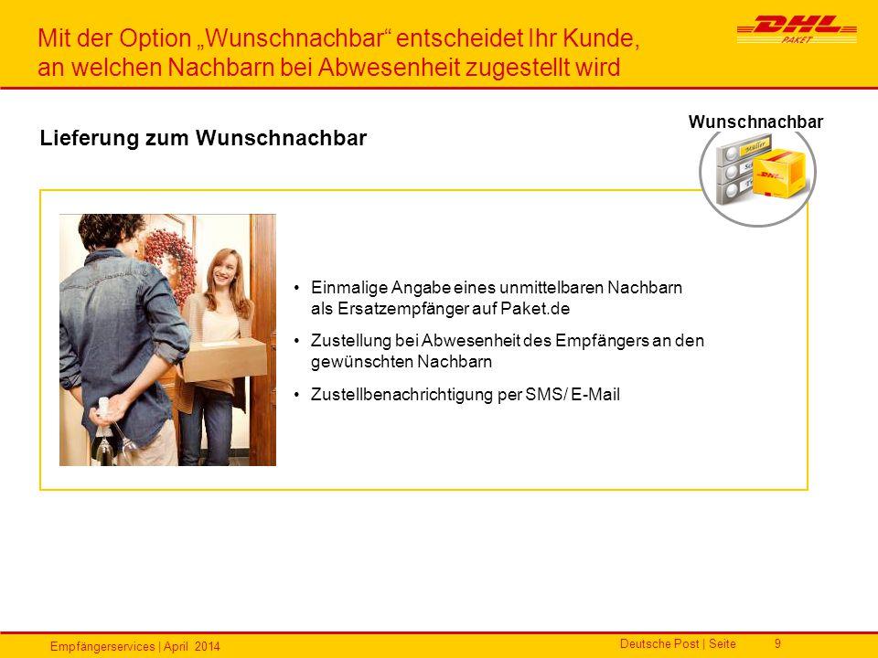 Empfängerservices | April 2014 Deutsche Post | Seite9 Einmalige Angabe eines unmittelbaren Nachbarn als Ersatzempfänger auf Paket.de Zustellung bei Ab