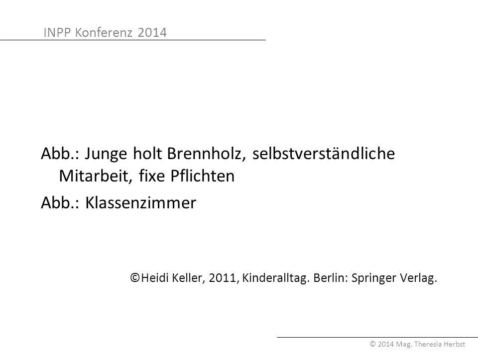 INPP Konferenz 2014 © 2014 Mag. Theresia Herbst Abb.: Junge holt Brennholz, selbstverständliche Mitarbeit, fixe Pflichten Abb.: Klassenzimmer ©Heidi K