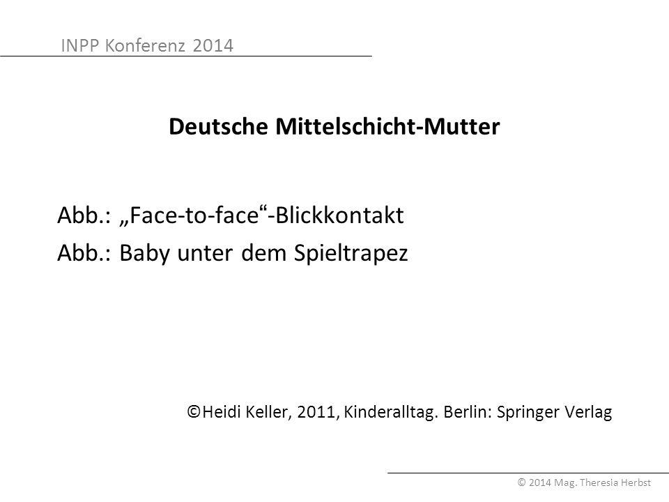 """INPP Konferenz 2014 © 2014 Mag. Theresia Herbst Deutsche Mittelschicht-Mutter Abb.: """"Face-to-face""""-Blickkontakt Abb.: Baby unter dem Spieltrapez ©Heid"""