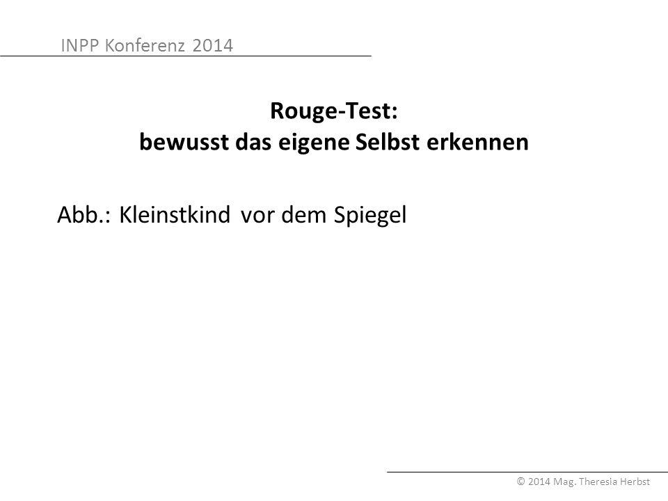 INPP Konferenz 2014 © 2014 Mag. Theresia Herbst Rouge-Test: bewusst das eigene Selbst erkennen Abb.: Kleinstkind vor dem Spiegel