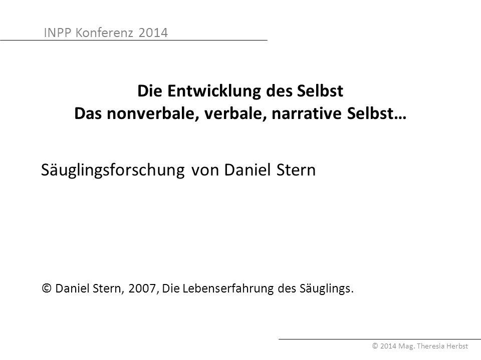 INPP Konferenz 2014 © 2014 Mag. Theresia Herbst Die Entwicklung des Selbst Das nonverbale, verbale, narrative Selbst… Säuglingsforschung von Daniel St