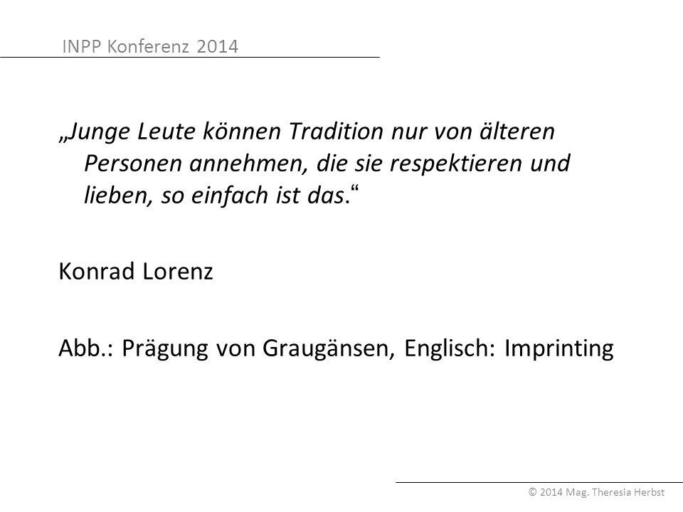"""INPP Konferenz 2014 © 2014 Mag. Theresia Herbst """"Junge Leute können Tradition nur von älteren Personen annehmen, die sie respektieren und lieben, so e"""