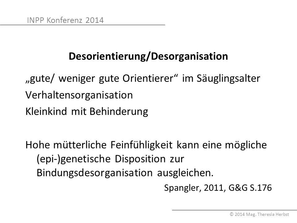 """INPP Konferenz 2014 © 2014 Mag. Theresia Herbst Desorientierung/Desorganisation """"gute/ weniger gute Orientierer"""" im Säuglingsalter Verhaltensorganisat"""