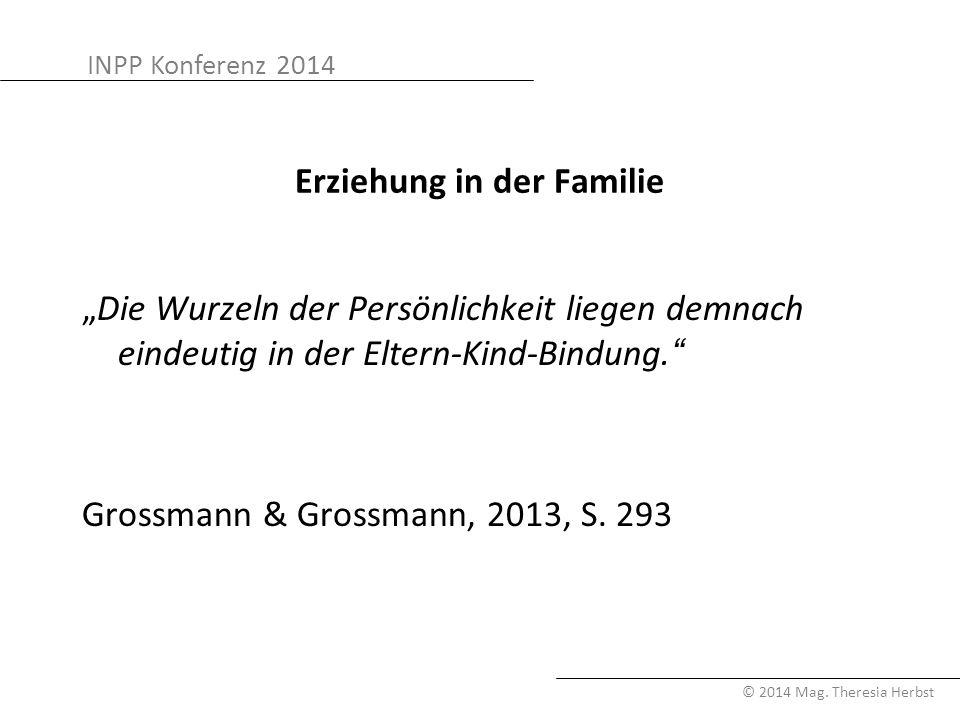 """INPP Konferenz 2014 © 2014 Mag. Theresia Herbst Erziehung in der Familie """"Die Wurzeln der Persönlichkeit liegen demnach eindeutig in der Eltern-Kind-B"""
