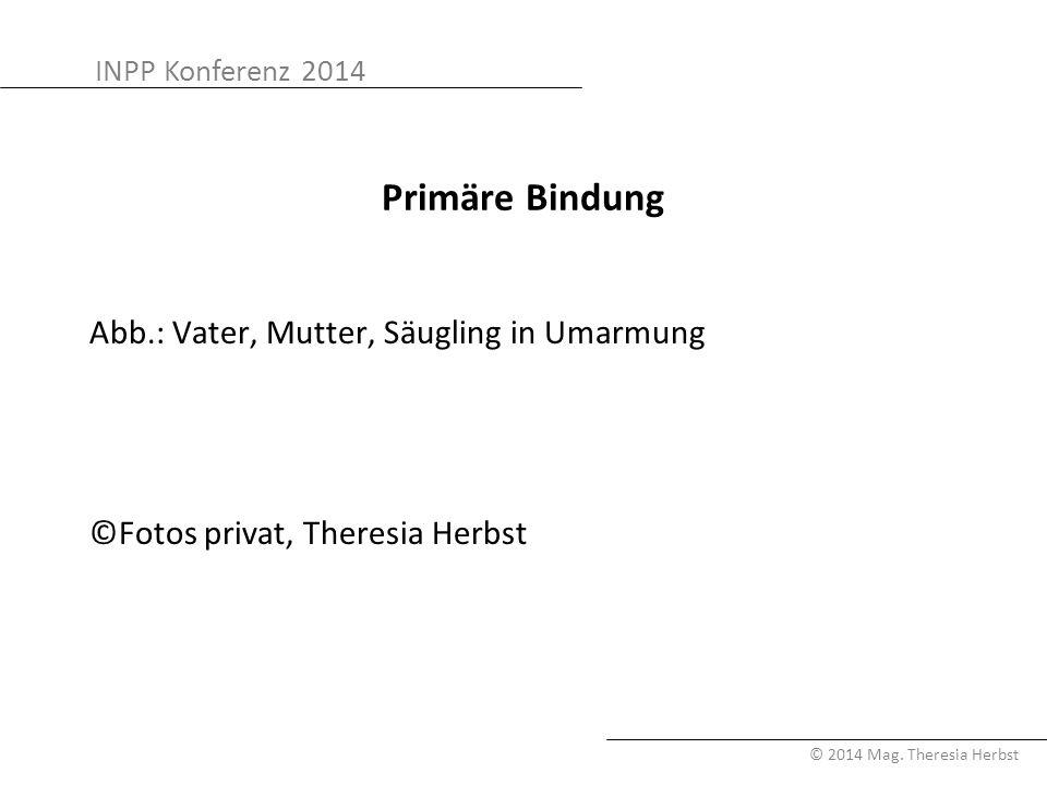 INPP Konferenz 2014 © 2014 Mag. Theresia Herbst Primäre Bindung Abb.: Vater, Mutter, Säugling in Umarmung ©Fotos privat, Theresia Herbst