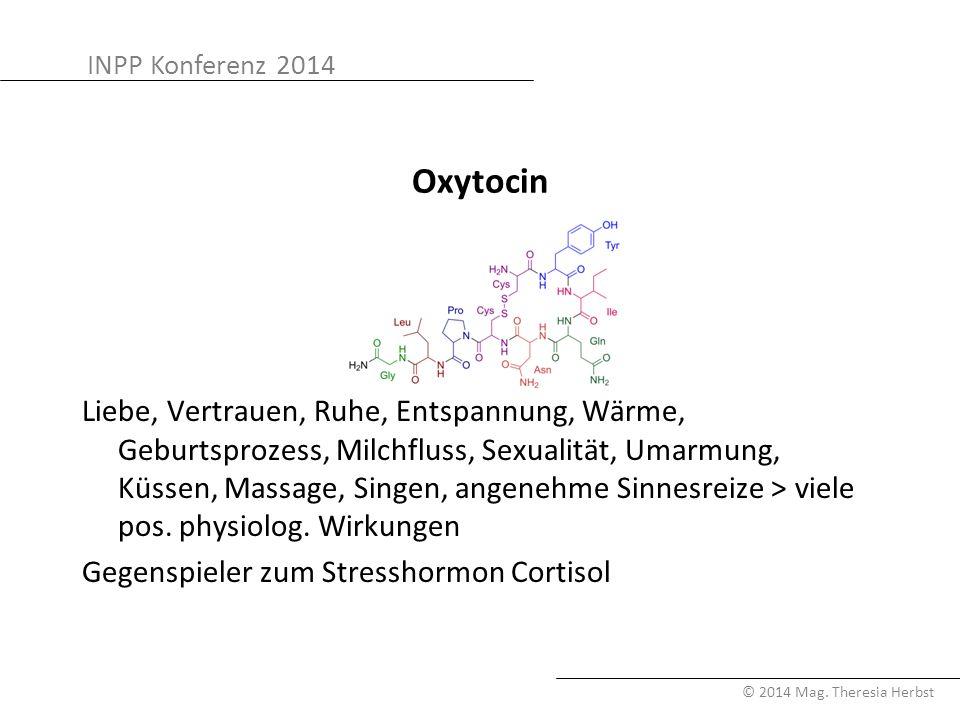 INPP Konferenz 2014 © 2014 Mag. Theresia Herbst Oxytocin Liebe, Vertrauen, Ruhe, Entspannung, Wärme, Geburtsprozess, Milchfluss, Sexualität, Umarmung,