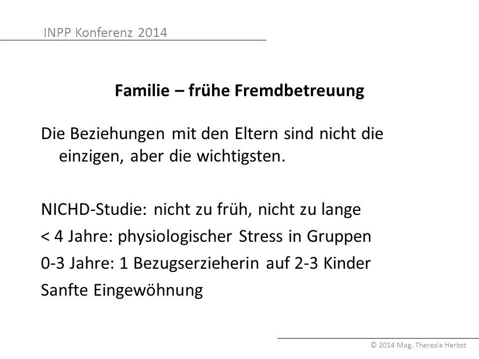 INPP Konferenz 2014 © 2014 Mag. Theresia Herbst Familie – frühe Fremdbetreuung Die Beziehungen mit den Eltern sind nicht die einzigen, aber die wichti
