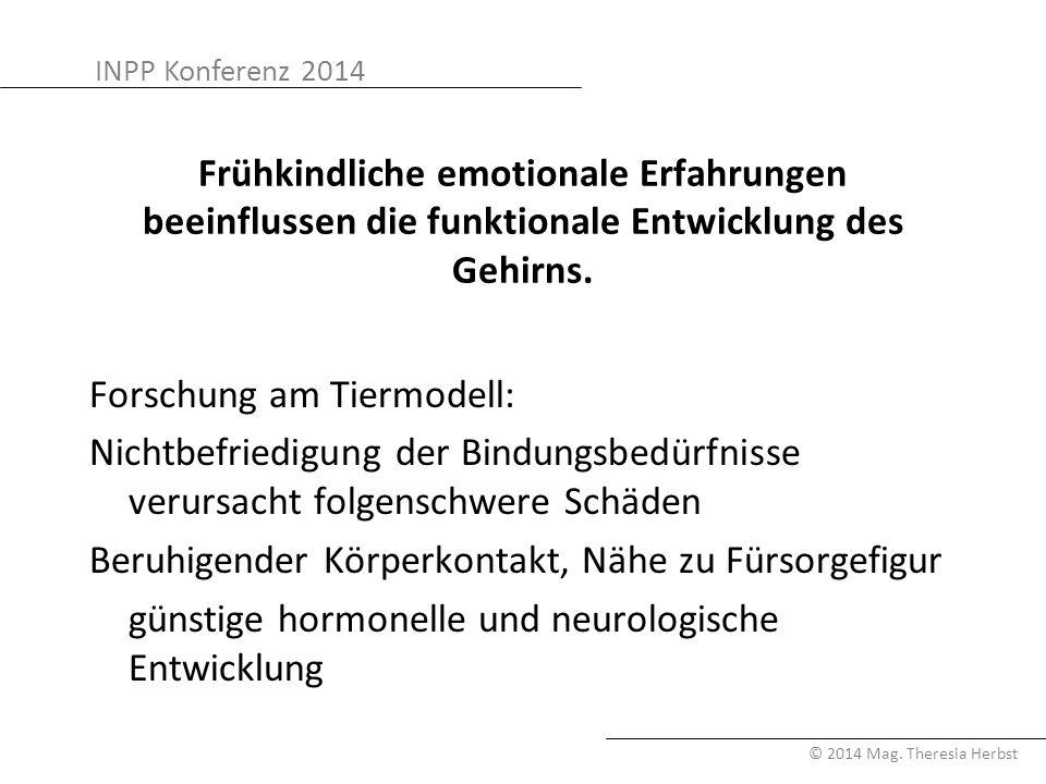 INPP Konferenz 2014 © 2014 Mag. Theresia Herbst Frühkindliche emotionale Erfahrungen beeinflussen die funktionale Entwicklung des Gehirns. Forschung a