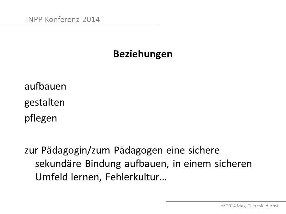 INPP Konferenz 2014 © 2014 Mag. Theresia Herbst Beziehungen aufbauen gestalten pflegen zur Pädagogin/zum Pädagogen eine sichere sekundäre Bindung aufb