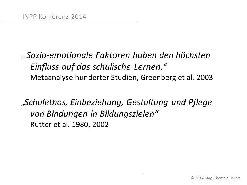 """INPP Konferenz 2014 © 2014 Mag. Theresia Herbst """" Sozio-emotionale Faktoren haben den höchsten Einfluss auf das schulische Lernen."""" Metaanalyse hunder"""