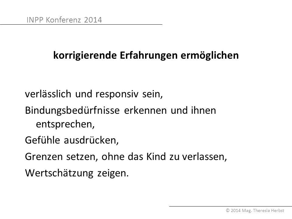 INPP Konferenz 2014 © 2014 Mag. Theresia Herbst korrigierende Erfahrungen ermöglichen verlässlich und responsiv sein, Bindungsbedürfnisse erkennen und