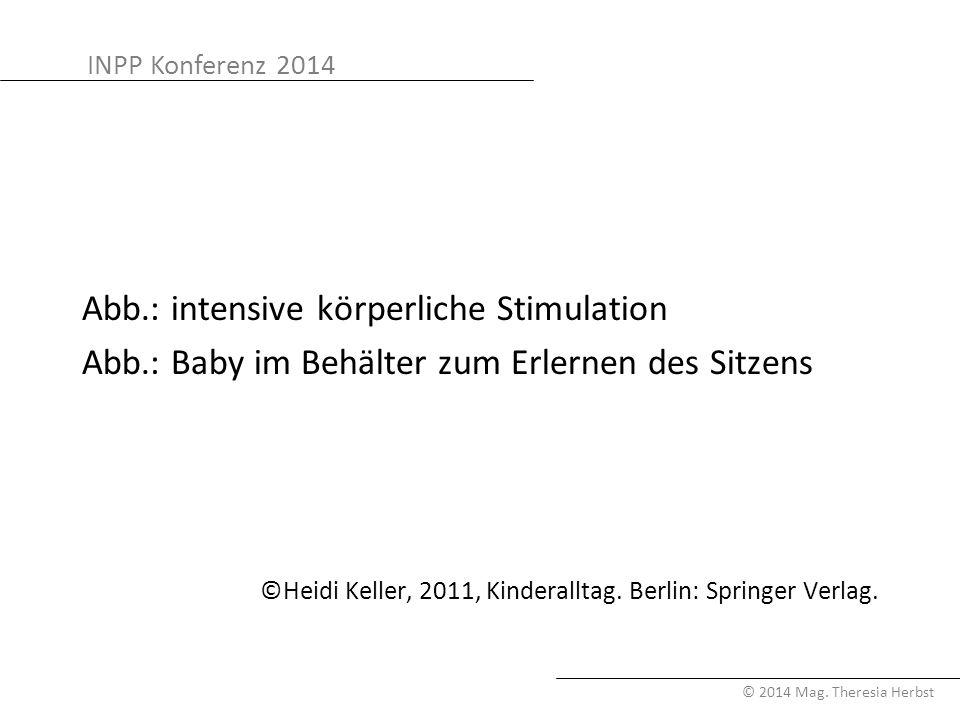 INPP Konferenz 2014 © 2014 Mag. Theresia Herbst Abb.: intensive körperliche Stimulation Abb.: Baby im Behälter zum Erlernen des Sitzens ©Heidi Keller,