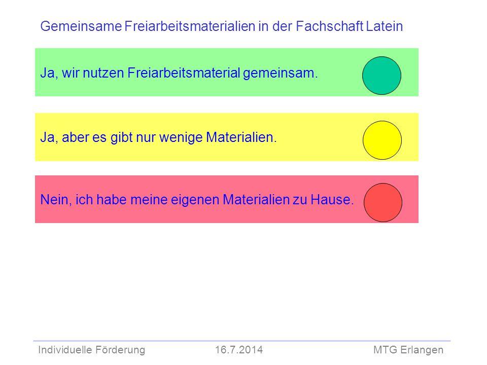 Individuelle Förderung 16.7.2014 MTG Erlangen Ja, wir nutzen Freiarbeitsmaterial gemeinsam. Ja, aber es gibt nur wenige Materialien. Gemeinsame Freiar