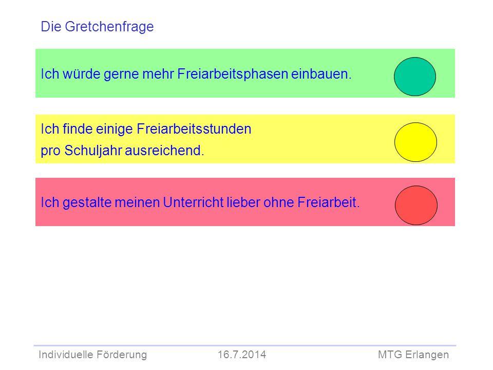 Individuelle Förderung 16.7.2014 MTG Erlangen Ich würde gerne mehr Freiarbeitsphasen einbauen. Ich finde einige Freiarbeitsstunden pro Schuljahr ausre