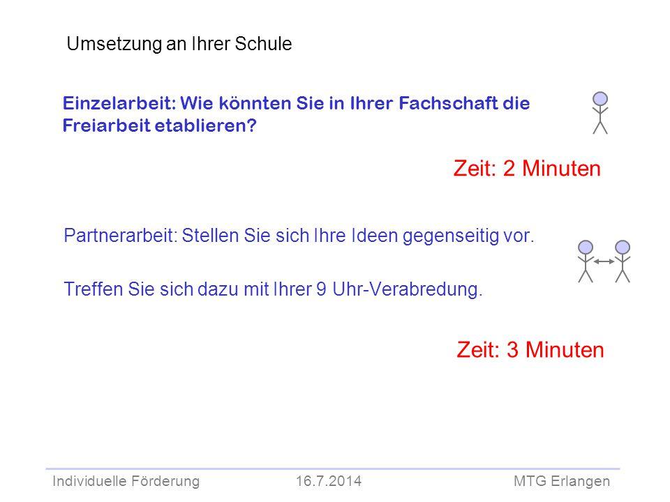 Individuelle Förderung 16.7.2014 MTG Erlangen Partnerarbeit: Stellen Sie sich Ihre Ideen gegenseitig vor. Treffen Sie sich dazu mit Ihrer 9 Uhr-Verabr