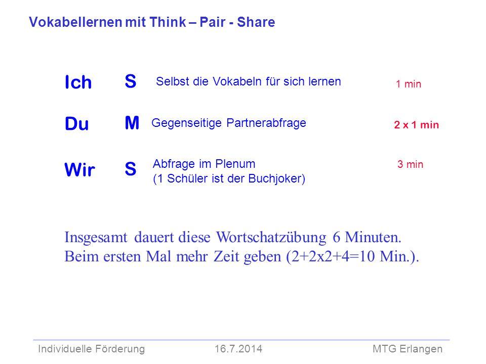 Individuelle Förderung 16.7.2014 MTG Erlangen S M S Selbst die Vokabeln für sich lernen Abfrage im Plenum (1 Schüler ist der Buchjoker) 1 min Vokabell