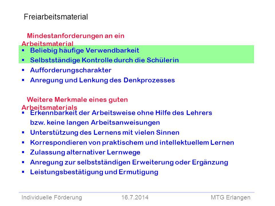 Individuelle Förderung 16.7.2014 MTG Erlangen Mindestanforderungen an ein Arbeitsmaterial  Beliebig häufige Verwendbarkeit  Selbstständige Kontrolle
