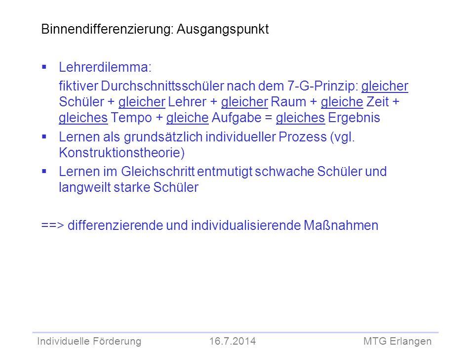 Individuelle Förderung 16.7.2014 MTG Erlangen Binnendifferenzierung: Ausgangspunkt  Lehrerdilemma: fiktiver Durchschnittsschüler nach dem 7-G-Prinzip
