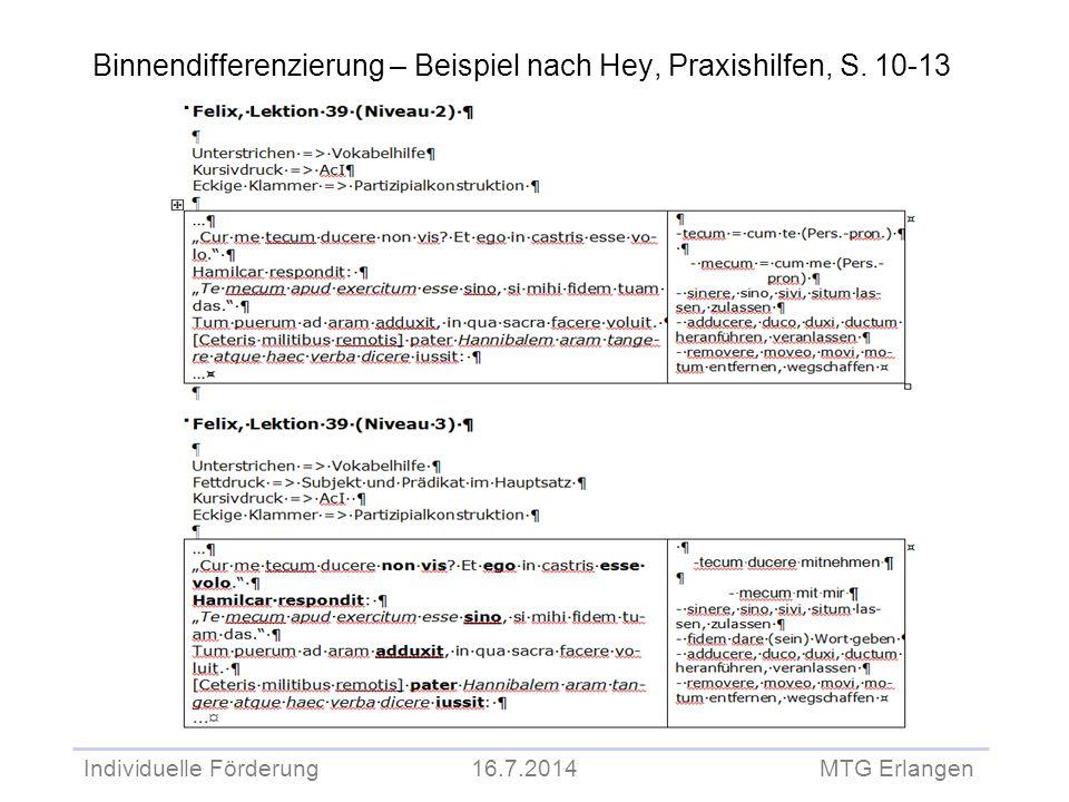 Individuelle Förderung 16.7.2014 MTG Erlangen Binnendifferenzierung – Beispiel nach Hey, Praxishilfen, S. 10-13