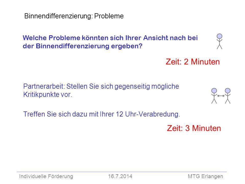 Individuelle Förderung 16.7.2014 MTG Erlangen Partnerarbeit: Stellen Sie sich gegenseitig mögliche Kritikpunkte vor. Treffen Sie sich dazu mit Ihrer 1