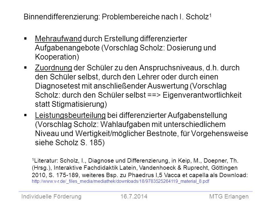Individuelle Förderung 16.7.2014 MTG Erlangen Binnendifferenzierung: Problembereiche nach I. Scholz 1  Mehraufwand durch Erstellung differenzierter A