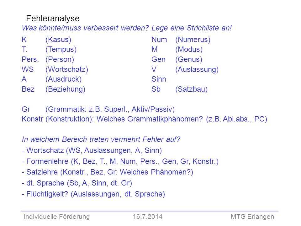 Individuelle Förderung 16.7.2014 MTG Erlangen Fehleranalyse Was könnte/muss verbessert werden? Lege eine Strichliste an! K (Kasus) Num (Numerus) T. (T