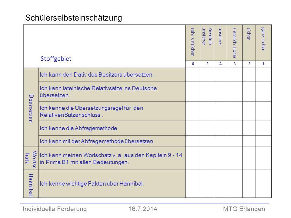 Individuelle Förderung 16.7.2014 MTG Erlangen Schülerselbsteinschätzung Stoffgebiet sehr unsicher Ziemlichunsicher ziemlich sicher sicher ganz sicher