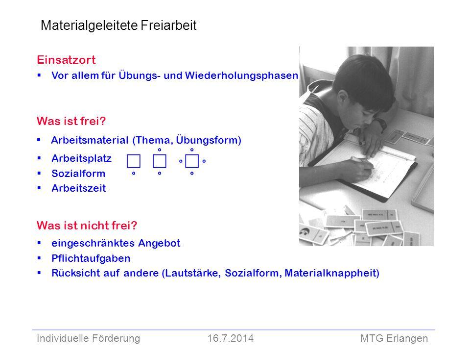 Individuelle Förderung 16.7.2014 MTG Erlangen Einsatzort  Vor allem für Übungs- und Wiederholungsphasen Was ist frei?  Arbeitsmaterial (Thema, Übung