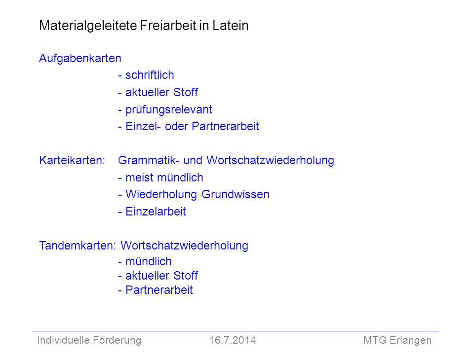 Individuelle Förderung 16.7.2014 MTG Erlangen Aufgabenkarten - schriftlich - aktueller Stoff - prüfungsrelevant - Einzel- oder Partnerarbeit Karteikar