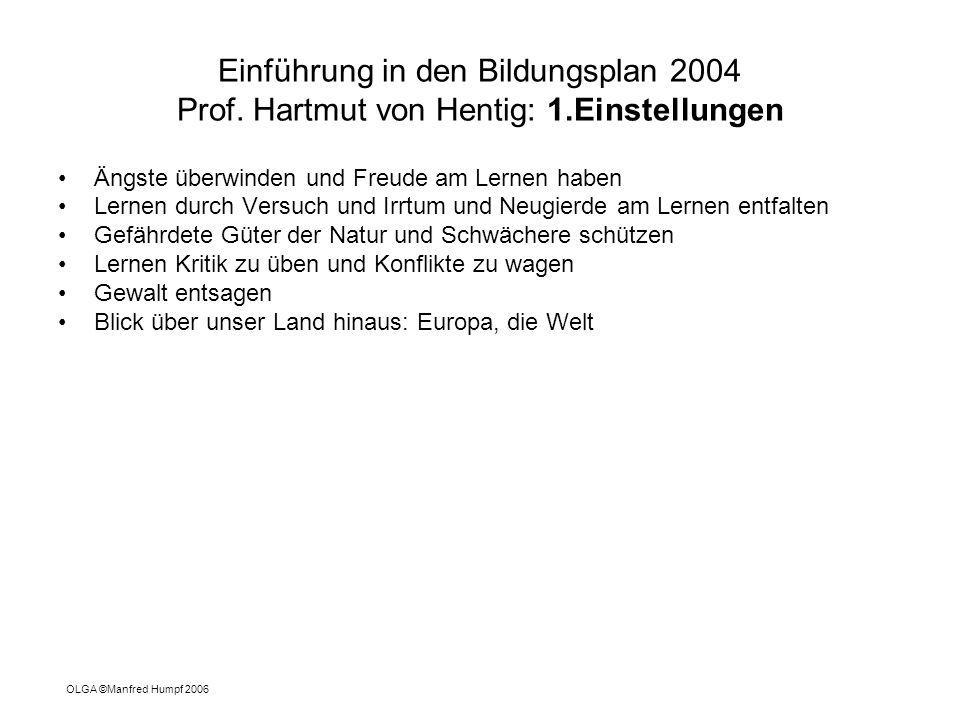 Einführung in den Bildungsplan 2004 Prof. Hartmut von Hentig: 1.Einstellungen Ängste überwinden und Freude am Lernen haben Lernen durch Versuch und Ir