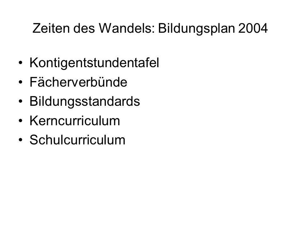Zeiten des Wandels: Bildungsplan 2004 Kontigentstundentafel Fächerverbünde Bildungsstandards Kerncurriculum Schulcurriculum