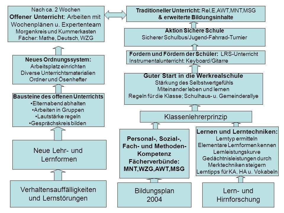 Verhaltensauffälligkeiten und Lernstörungen Bildungsplan 2004 Lern- und Hirnforschung Neue Lehr- und Lernformen Bausteine des offenen Unterrichts Elte