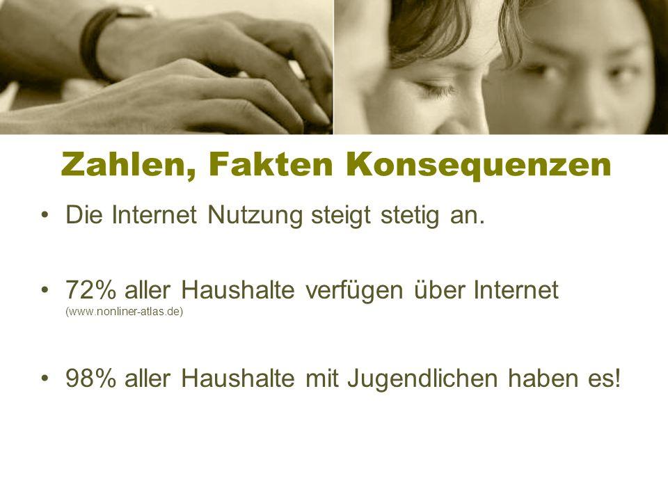 Zahlen, Fakten Konsequenzen Die Internet Nutzung steigt stetig an.