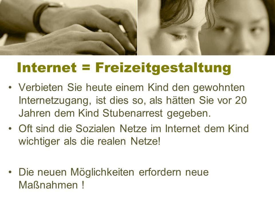 Internet = Freizeitgestaltung Verbieten Sie heute einem Kind den gewohnten Internetzugang, ist dies so, als hätten Sie vor 20 Jahren dem Kind Stubenarrest gegeben.