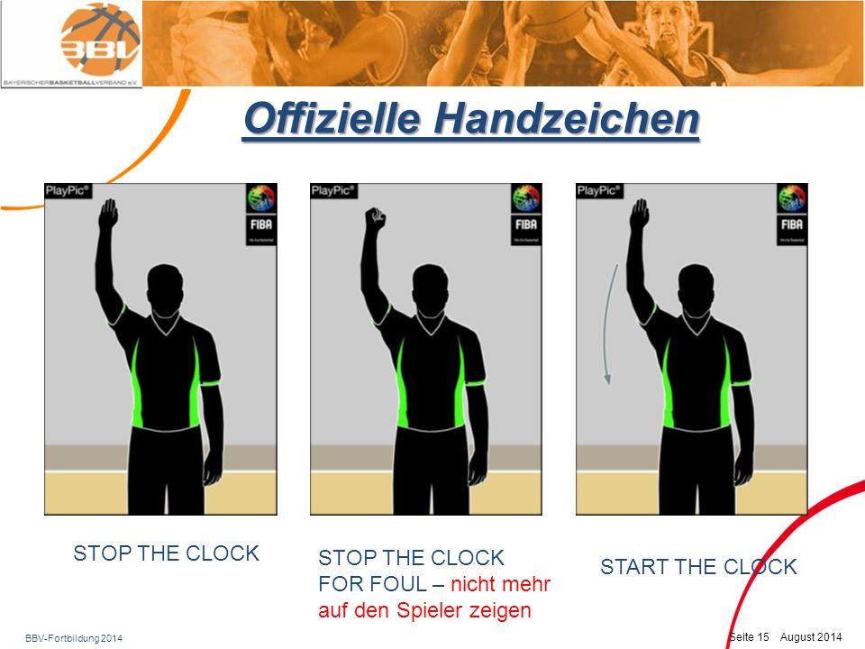 BBV-Fortbildung 2014 Seite 16 August 2014 Offizielle Handzeichen 1 Punkt2 Punkte