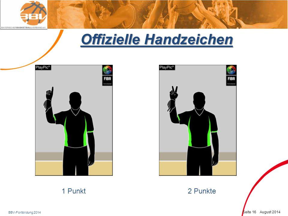 BBV-Fortbildung 2014 Seite 17 August 2014 Offizielle Handzeichen 3-Punkte-Versuch3-Punkte erfolgreich