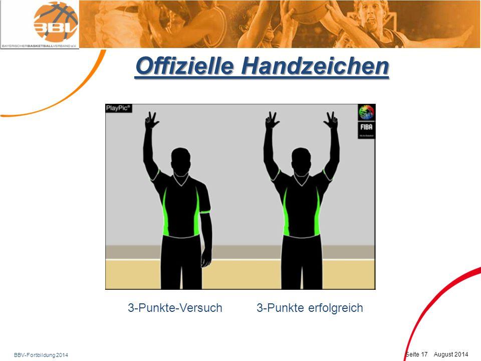 BBV-Fortbildung 2014 Seite 18 August 2014 Offizielle Handzeichen SpielerwechselFeld betreten – wichtig.