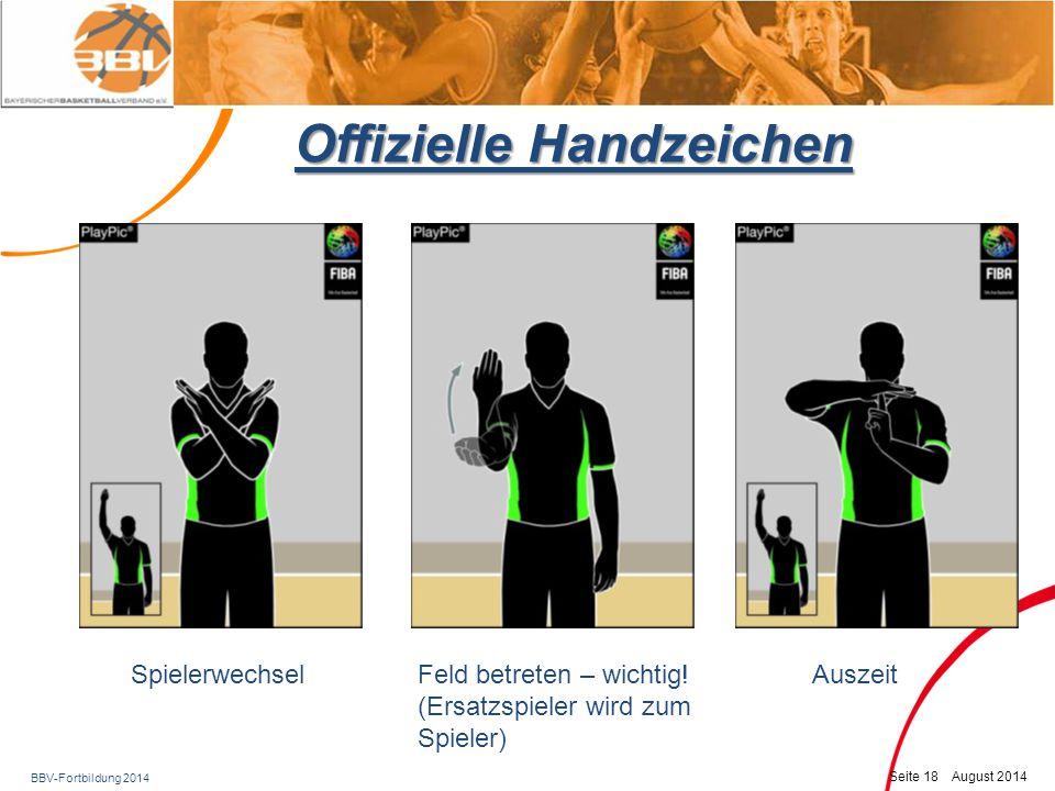 BBV-Fortbildung 2014 Seite 19 August 2014 Offizielle Handzeichen Keine Punkte