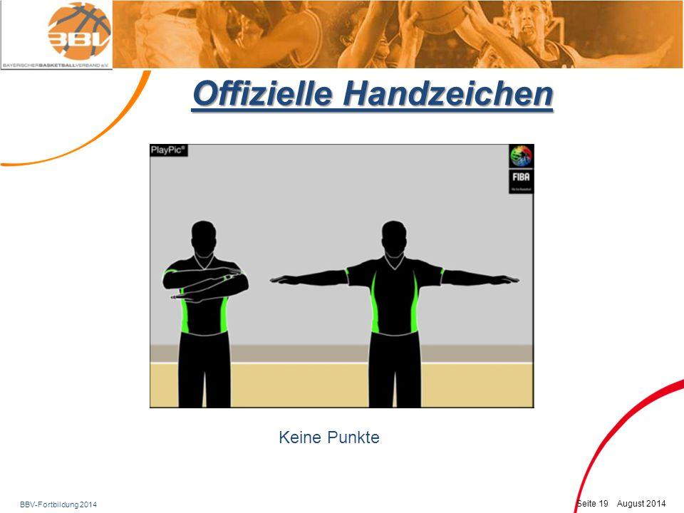 BBV-Fortbildung 2014 Seite 20 August 2014 Offizielle Handzeichen Sichtbares Mitzählen (5 sec, 8 sec.)