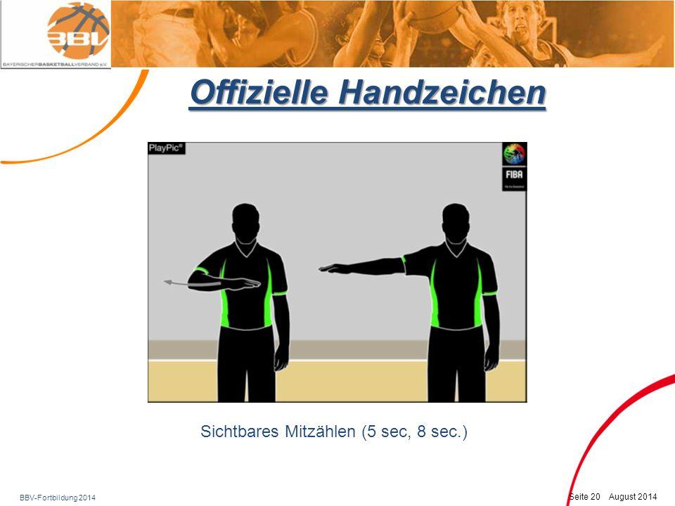 BBV-Fortbildung 2014 Seite 21 August 2014 Offizielle Handzeichen OK-ZeichenWurfuhr zurückstellen Spielrichtung