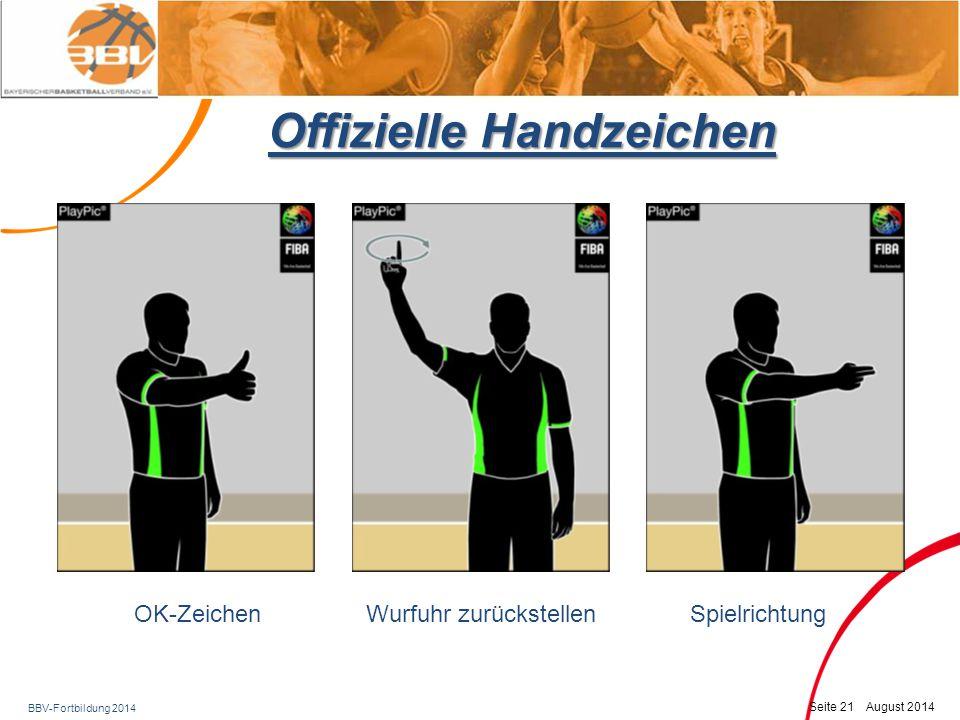 BBV-Fortbildung 2014 Seite 22 August 2014 Offizielle Handzeichen Zeit aus, Sprungballsituation, Spielrichtung nach Einwurfanzeiger SchrittfehlerDoppeldribbel