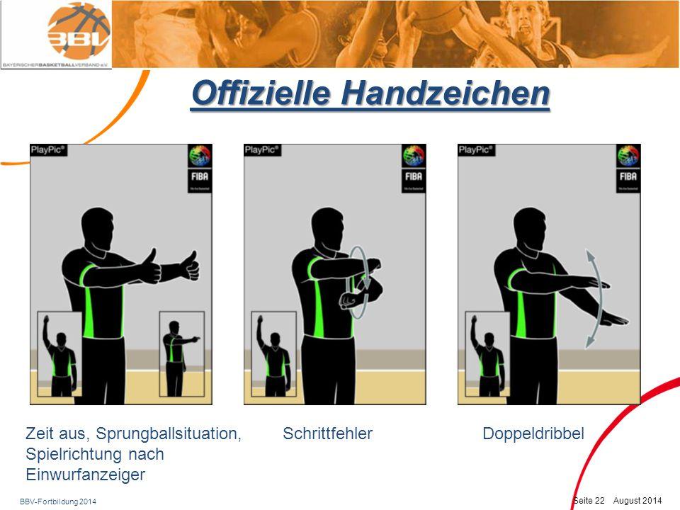 BBV-Fortbildung 2014 Seite 23 August 2014 Offizielle Handzeichen Illegales dribbeln, Ball führen (schaufeln)