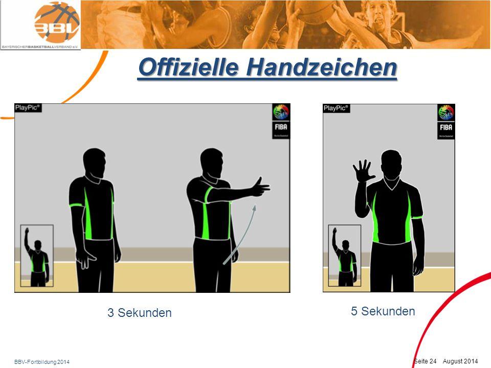 BBV-Fortbildung 2014 Seite 25 August 2014 Offizielle Handzeichen 8 Sekunden 24 Sekunden