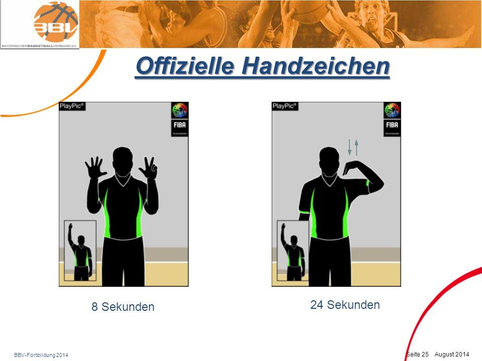 BBV-Fortbildung 2014 Seite 26 August 2014 Offizielle Handzeichen Rückspiel Fußspiel