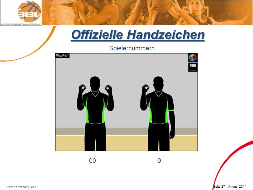 BBV-Fortbildung 2014 Seite 28 August 2014 Offizielle Handzeichen Spielernummern 1-56-1011-15