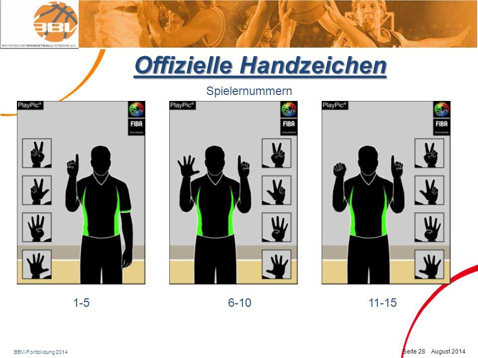 BBV-Fortbildung 2014 Seite 29 August 2014 Offizielle Handzeichen Spielernummern 16 – 99 : Zuerst zeigt die Rückhand den Zehner, dann die Vorhand den Einer – hier 16 NEU!