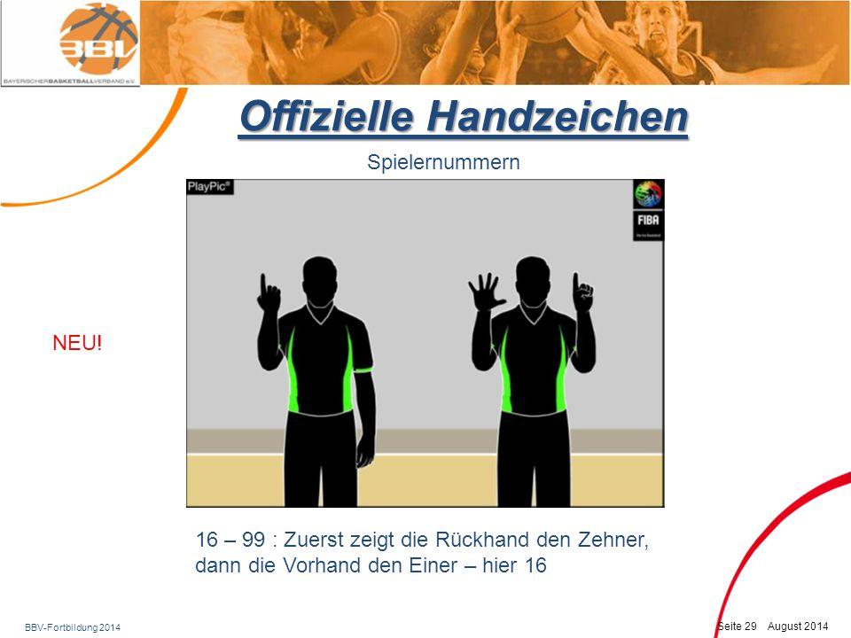BBV-Fortbildung 2014 Seite 30 August 2014 Offizielle Handzeichen Spielernummern 16 – 99 : Zuerst zeigt die Rückhand den Zehner, dann die Vorhand den Einer – hier 24 Wie gehabt!