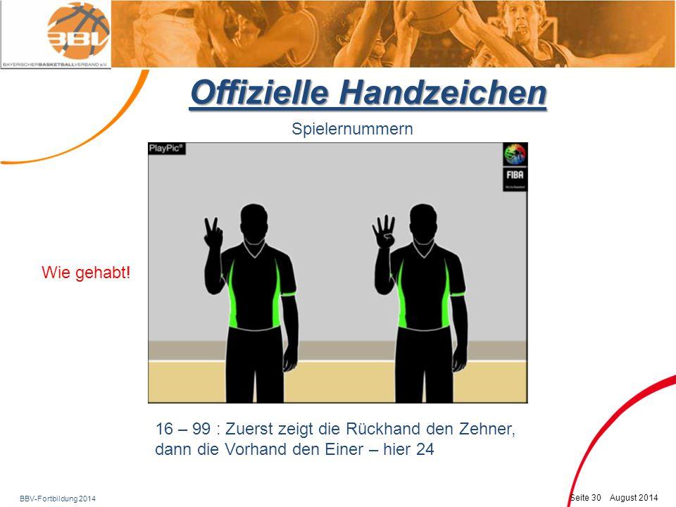 BBV-Fortbildung 2014 Seite 31 August 2014 Offizielle Handzeichen Spielernummern 16 – 99 : Zuerst zeigt die Rückhand den Zehner, dann die Vorhand den Einer – hier 40 Wie gehabt!